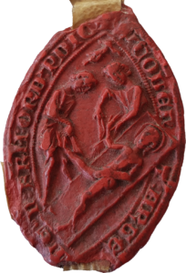 L'avers du sceau du couvent des Dominicains de Strasbourg (AVES CH 22 / 489).